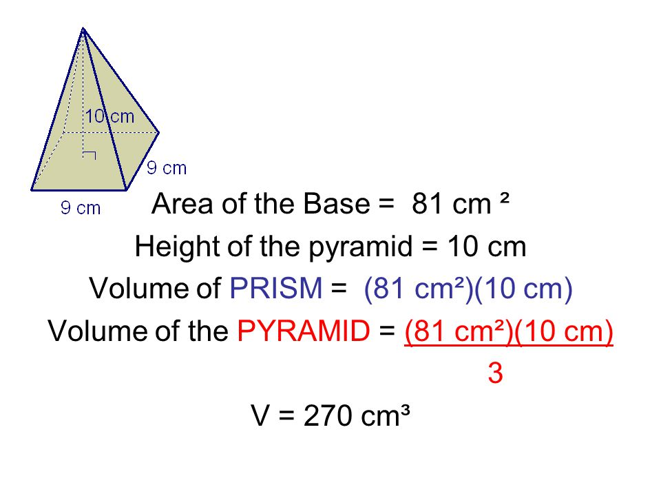 Area of the Base = 81 cm ² Height of the pyramid = 10 cm Volume of PRISM = (81 cm²)(10 cm) Volume of the PYRAMID = (81 cm²)(10 cm) 3 V = 270 cm³