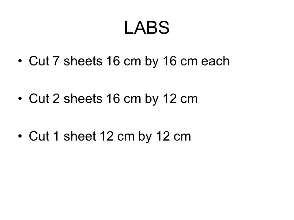 LABS Cut 7 sheets 16 cm by 16 cm each Cut 2 sheets 16 cm by 12 cm Cut 1 sheet 12 cm by 12 cm