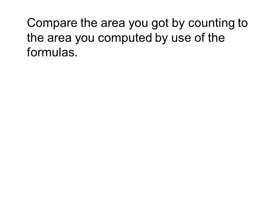 Compare the area you got by counting to the area you computed by use of the formulas.