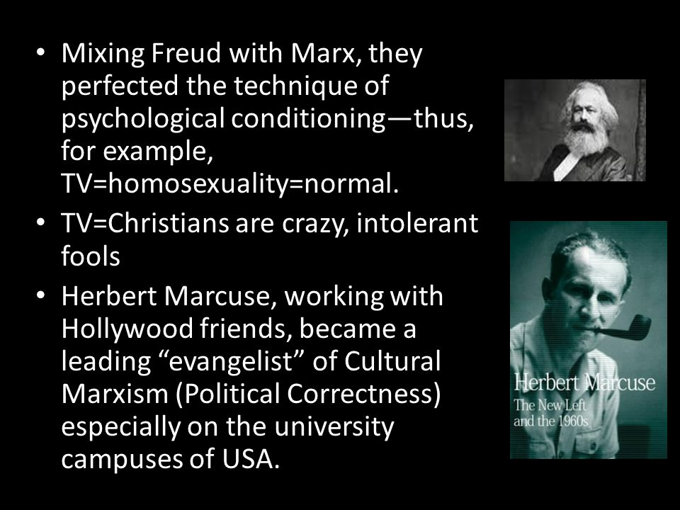 Mixing Freud with Marx, they perfected the technique of psychological conditioning—thus, for example, TV=homosexuality=normal. TV=Christians are crazy