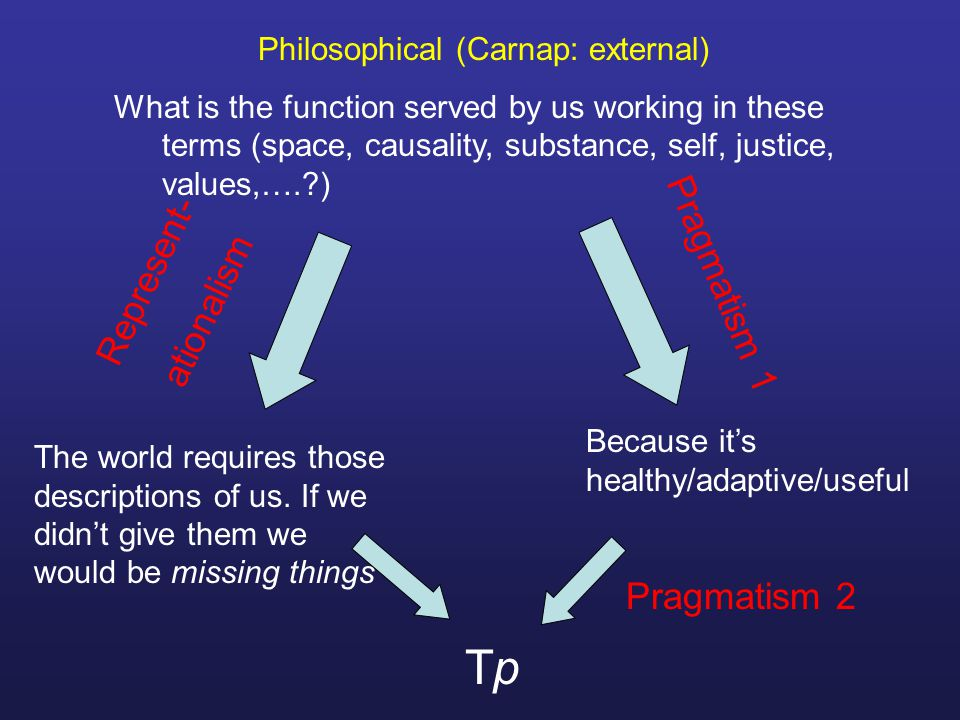 Philosophical (Carnap: external) What is the function served by us working in these terms (space, causality, substance, self, justice, values,…. ) The world requires those descriptions of us.