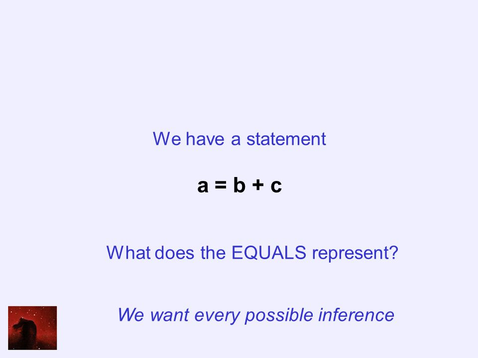 We have a statement a = b + c What does the EQUALS represent We want every possible inference