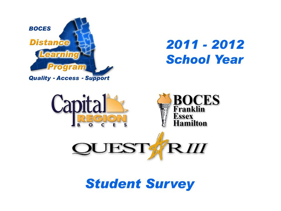 .. CRB/FEH/Questar III Distance Learning Project Student Survey 2009– 2010 School Year BOCES Distance Learning Program Quality Access Support