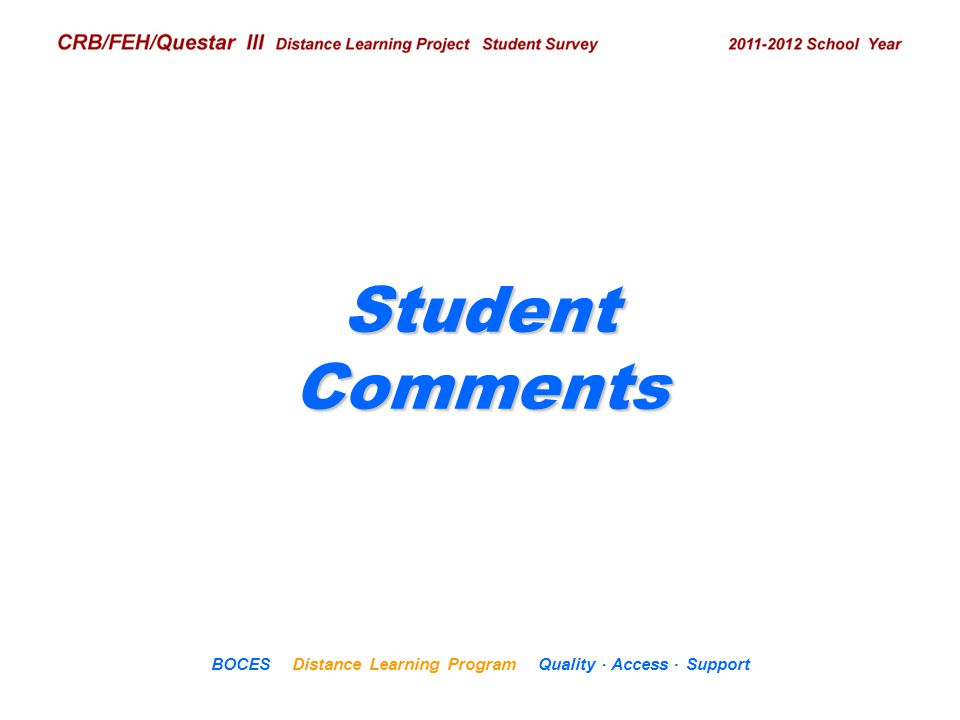 .. CRB/FEH/Questar III Distance Learning Project Student Survey 2009– 2010 School Year BOCES Distance Learning Program Quality Access Support Student