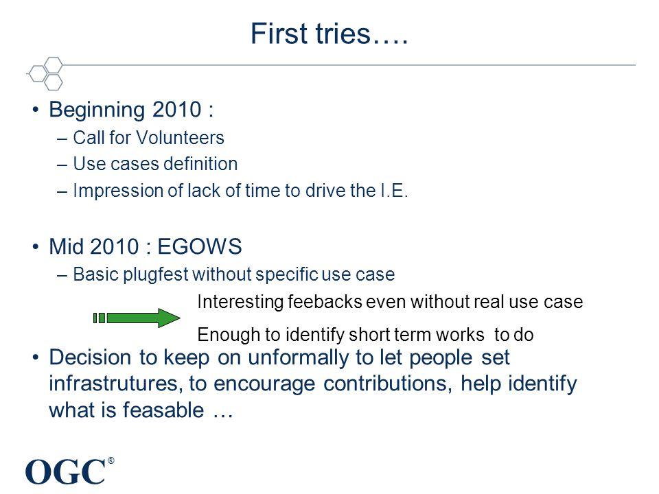 OGC ® First tries….