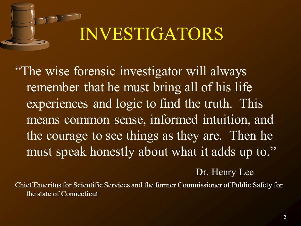 FORENSIC SCIENCE Crime Scene Investigation