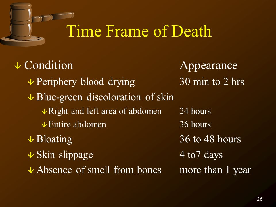 25 THE BODY Algor Mortis Algor mortis is body temperature. At a crime scene, it can be obtained in two different ways. ãRectal temperature ãLiver temp