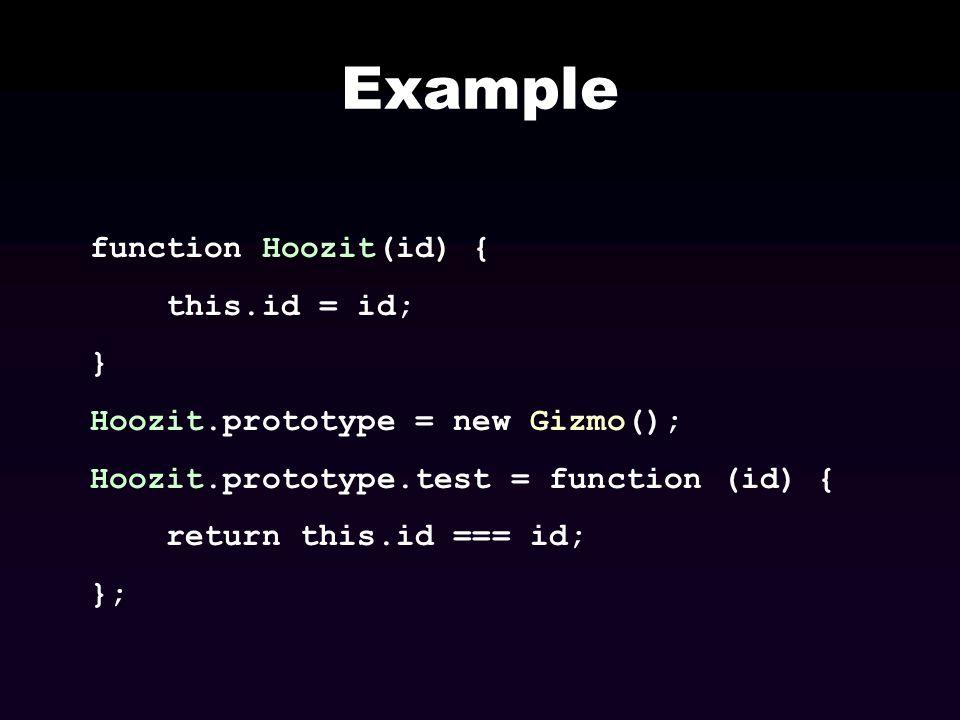 Example function Hoozit(id) { this.id = id; } Hoozit.prototype = new Gizmo(); Hoozit.prototype.test = function (id) { return this.id === id; };