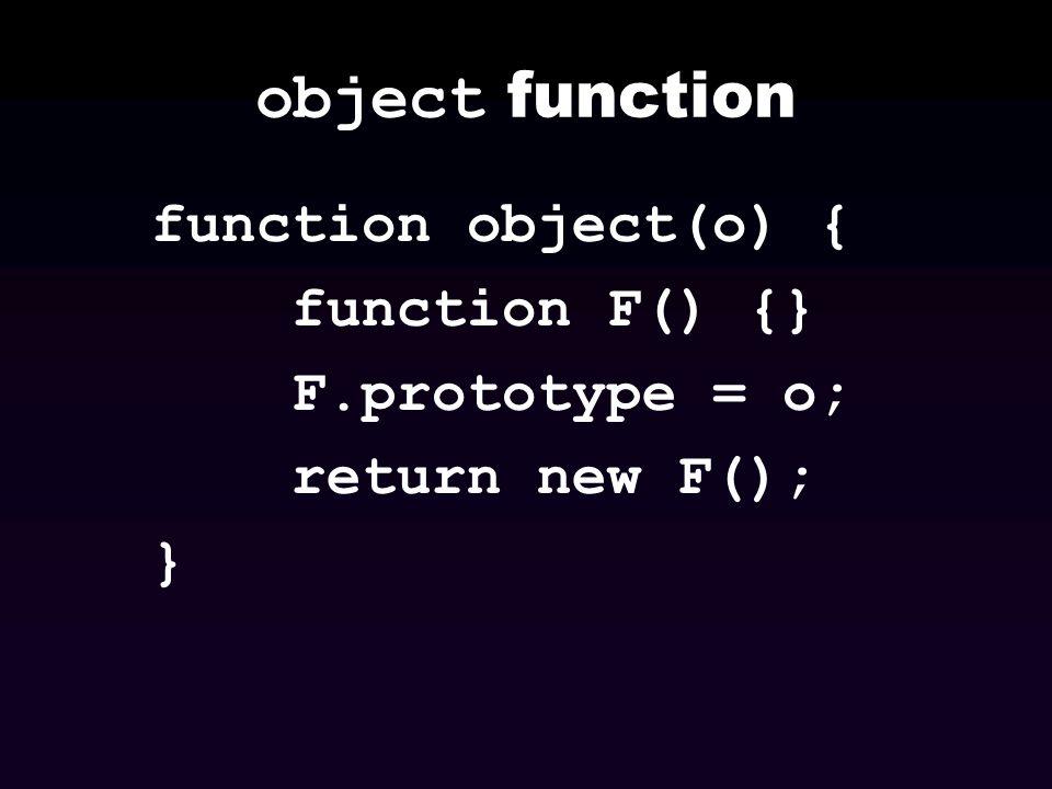 object function function object(o) { function F() {} F.prototype = o; return new F(); }