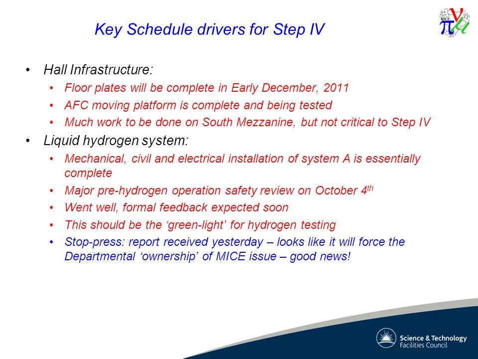 Key Schedule drivers for Step IV Hall Infrastructure: Floor plates will be complete in Early December, 2011 AFC moving platform is complete and being tested Much work to be done on South Mezzanine, but not critical to Step IV Liquid hydrogen system: Mechanical, civil and electrical installation of system A is essentially complete Major pre-hydrogen operation safety review on October 4 th Went well, formal feedback expected soon This should be the 'green-light' for hydrogen testing Stop-press: report received yesterday – looks like it will force the Departmental 'ownership' of MICE issue – good news!