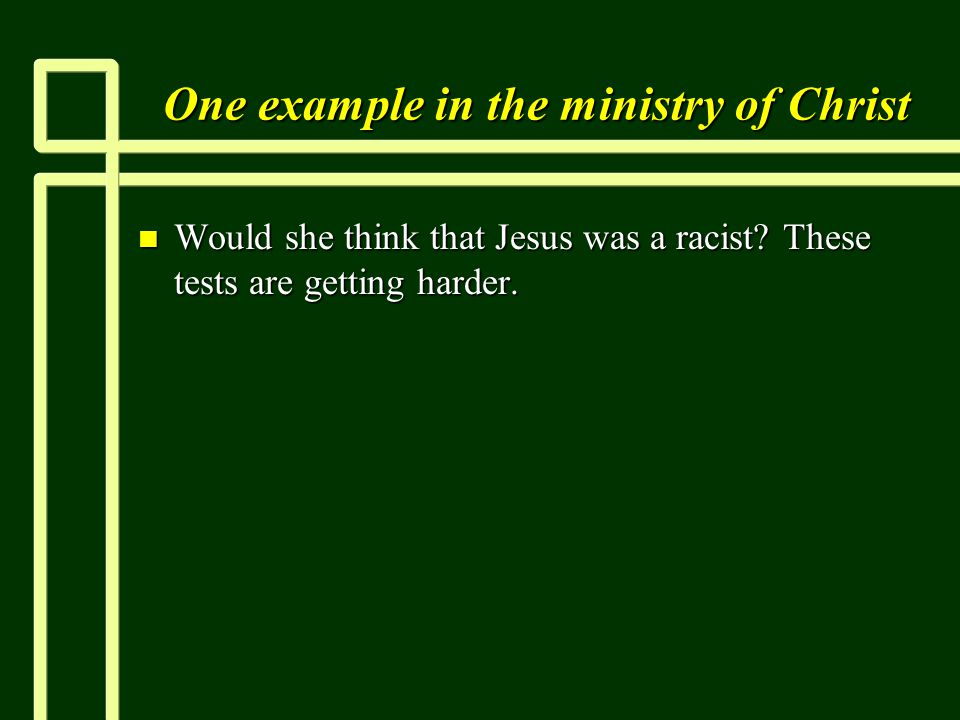 One example in the ministry of Christ n Would she think that Jesus was a racist.