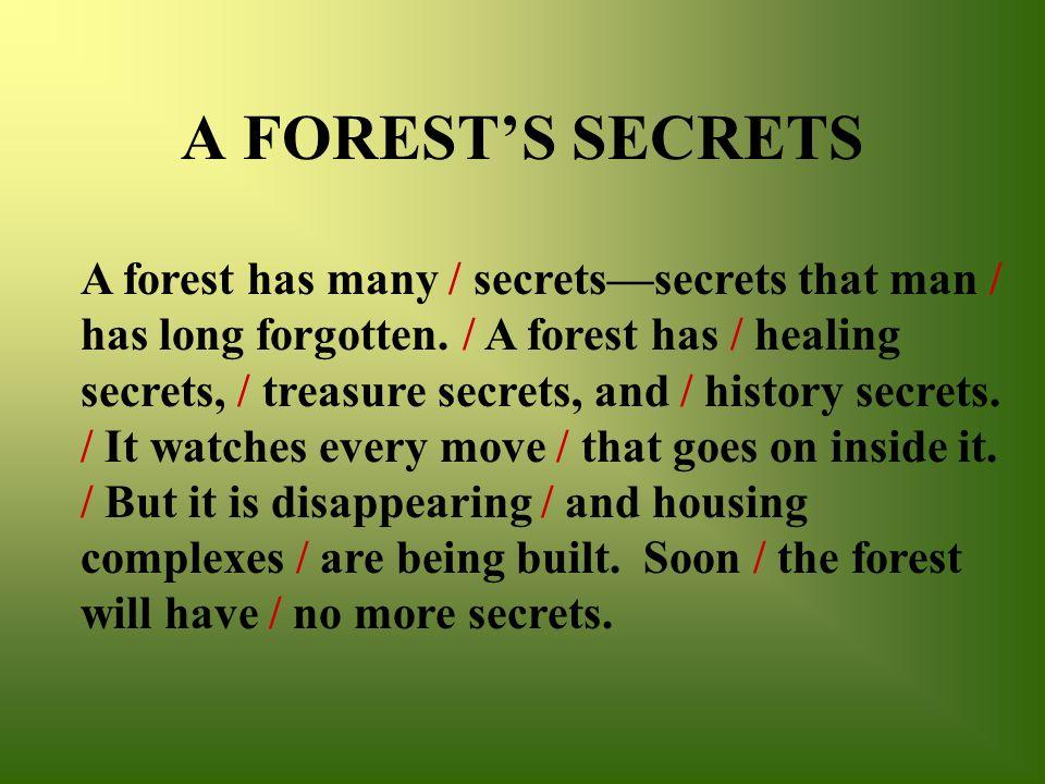 A FOREST'S SECRETS A forest has many / secrets—secrets that man / has long forgotten.