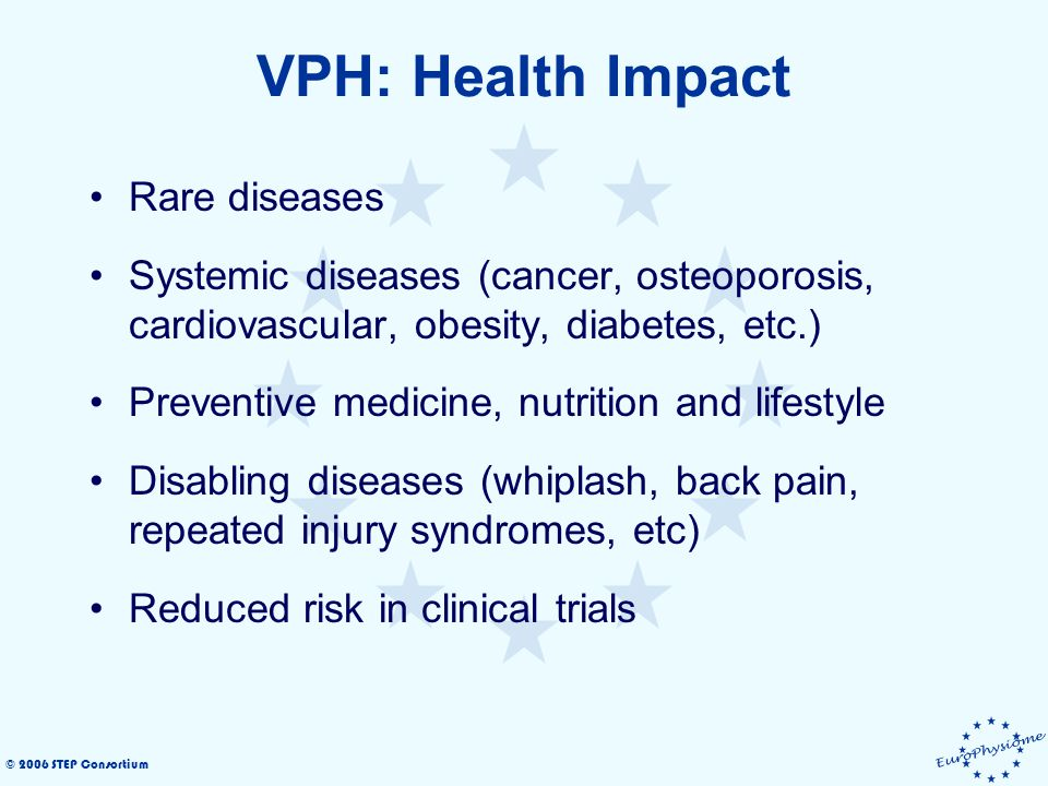 © 2006 STEP Consortium VPH: Health Impact Rare diseases Systemic diseases (cancer, osteoporosis, cardiovascular, obesity, diabetes, etc.) Preventive medicine, nutrition and lifestyle Disabling diseases (whiplash, back pain, repeated injury syndromes, etc) Reduced risk in clinical trials