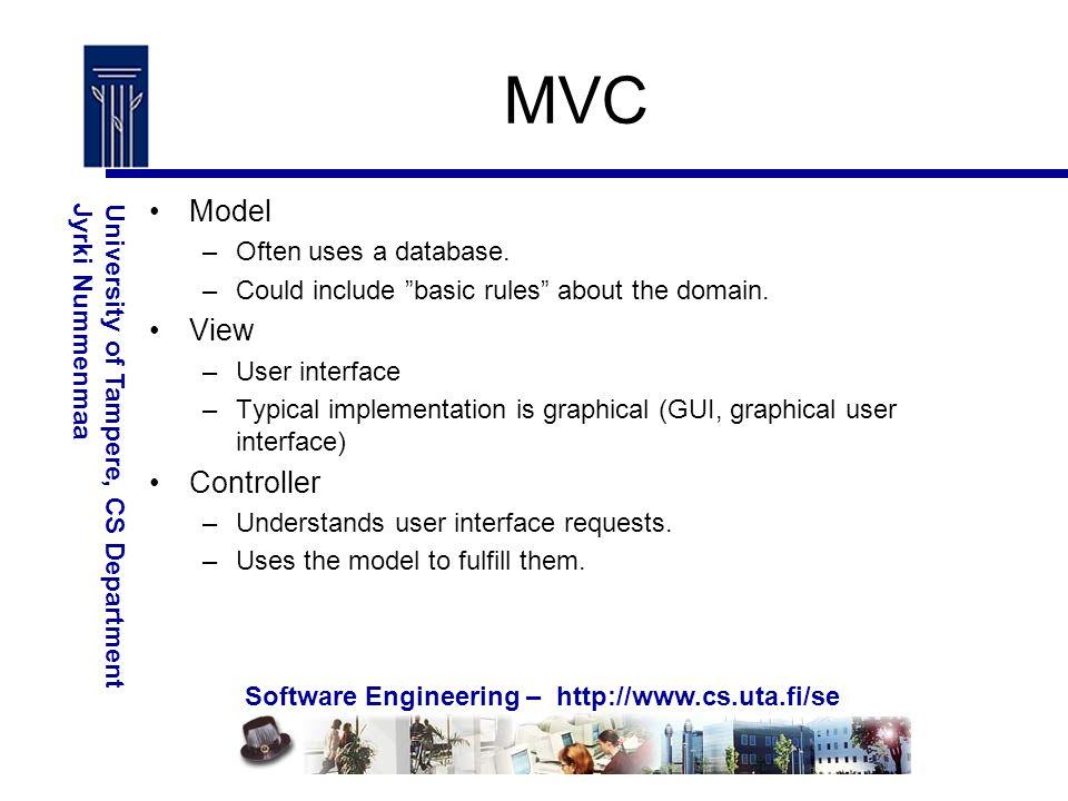 Software Engineering – http://www.cs.uta.fi/se University of Tampere, CS DepartmentJyrki Nummenmaa MVC Model –Often uses a database.