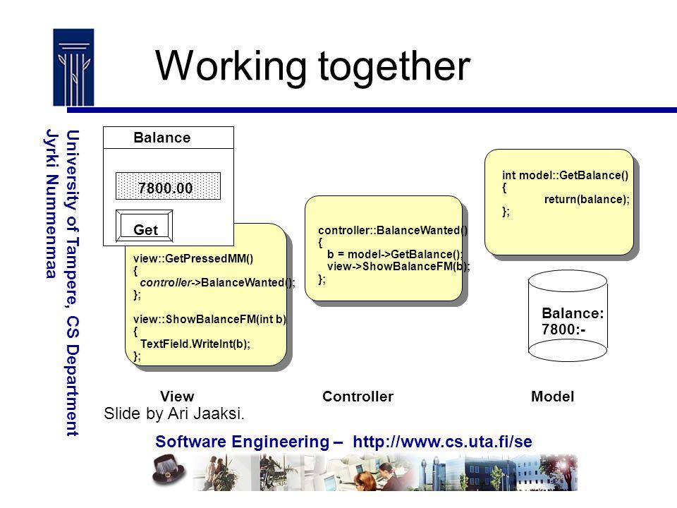 Software Engineering – http://www.cs.uta.fi/se University of Tampere, CS DepartmentJyrki Nummenmaa Working together Balance: 7800:- ModelControllerView controller::BalanceWanted() { b = model->GetBalance(); view->ShowBalanceFM(b); }; 7800.00 Balance Get view::GetPressedMM() { controller->BalanceWanted(); }; view::ShowBalanceFM(int b) { TextField.WriteInt(b); }; int model::GetBalance() { return(balance); }; Slide by Ari Jaaksi.
