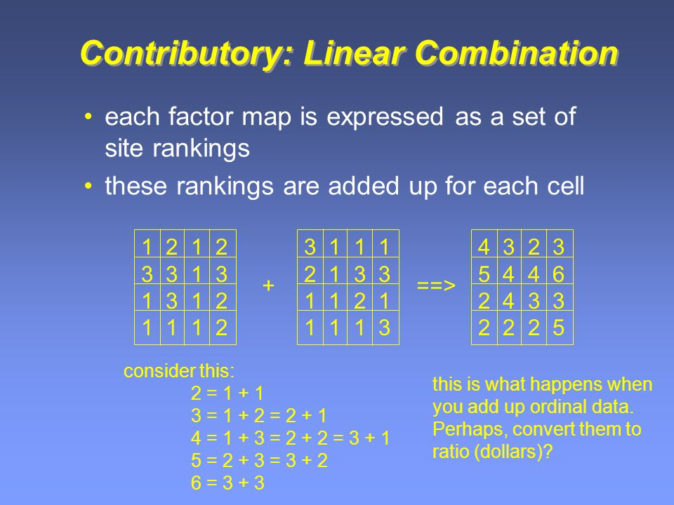 Contributory: Linear Combination each factor map is expressed as a set of site rankings these rankings are added up for each cell 1 2 3 3 1 3 1 3 1 2 1 1 1 2 + 3 1 1 1 2 1 3 3 1 1 2 1 1 1 1 3 4 3 2 3 5 4 4 6 2 4 3 3 2 2 2 5 ==> consider this: 2 = 1 + 1 3 = 1 + 2 = 2 + 1 4 = 1 + 3 = 2 + 2 = 3 + 1 5 = 2 + 3 = 3 + 2 6 = 3 + 3 this is what happens when you add up ordinal data.