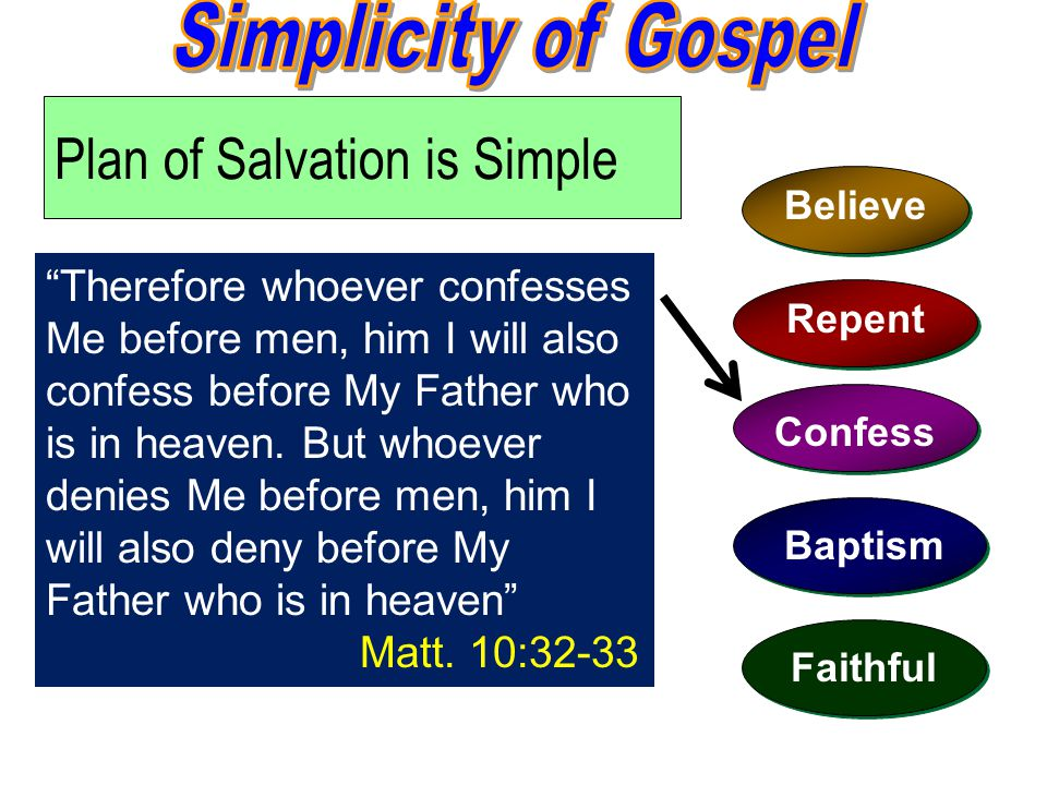 Plan of Salvation is Simple Believe Repent Confess Baptism Faithful Therefore whoever confesses Me before men, him I will also confess before My Father who is in heaven.