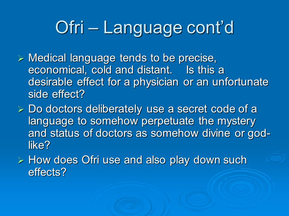 Ofri - Structure  The time period covered in Ofri's essay is about a month.