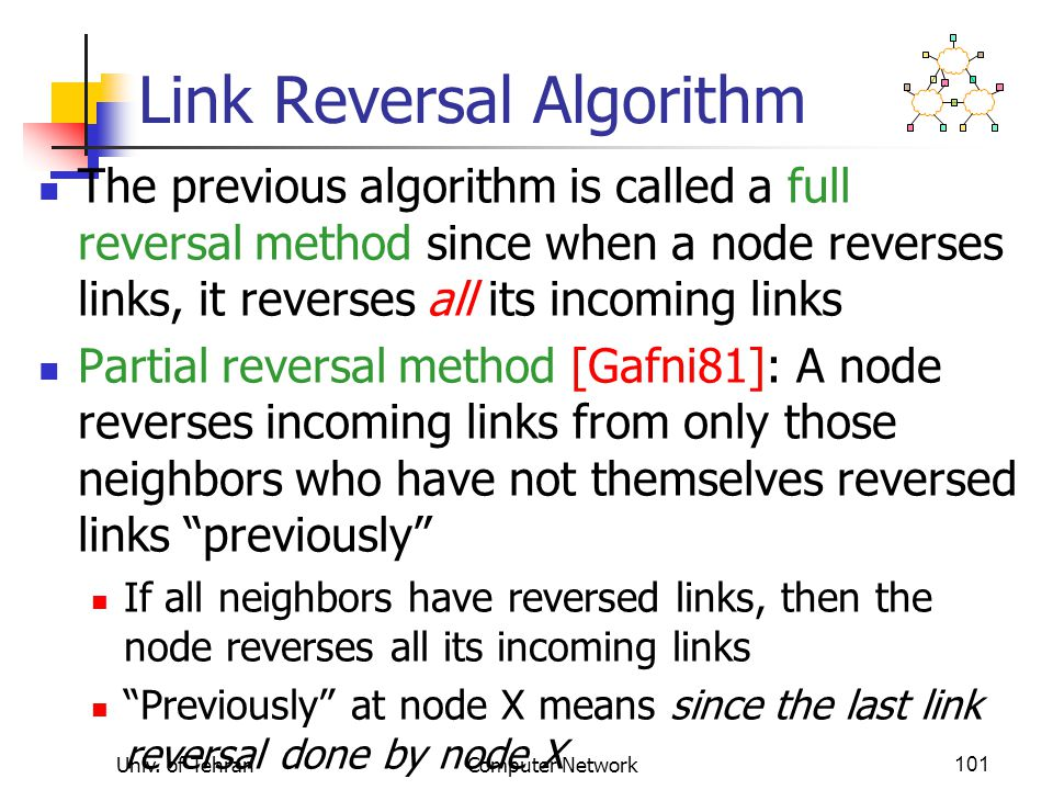 Univ. of TehranComputer Network101 Link Reversal Algorithm The previous algorithm is called a full reversal method since when a node reverses links, i
