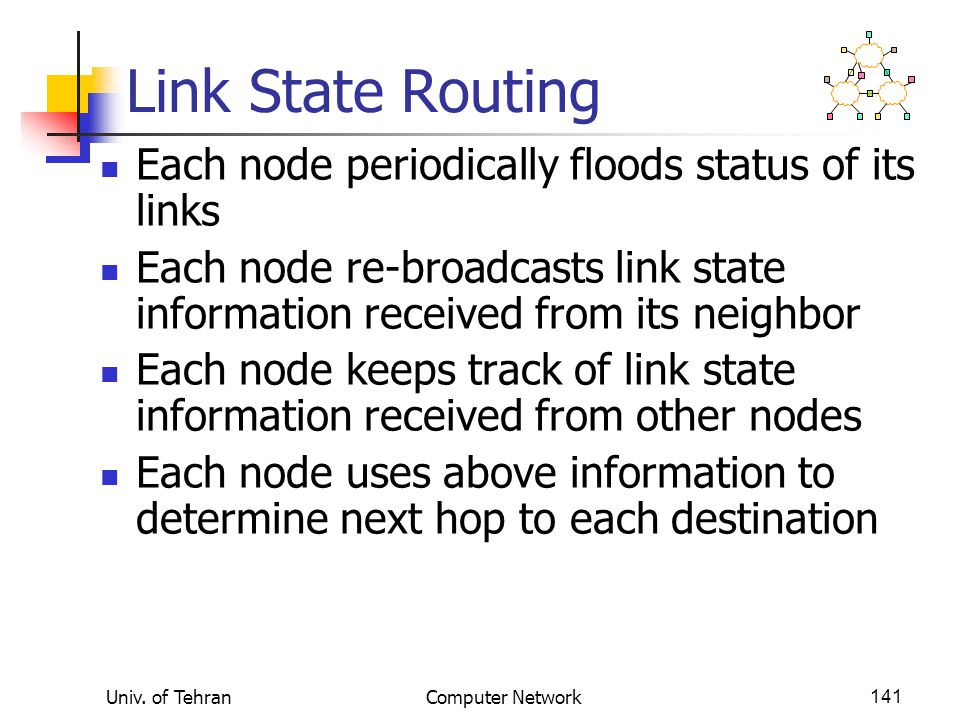 Univ. of TehranComputer Network141 Link State Routing Each node periodically floods status of its links Each node re-broadcasts link state information