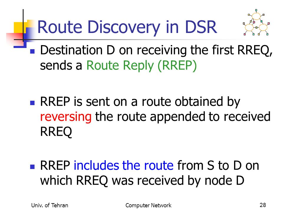 Univ. of TehranComputer Network28 Route Discovery in DSR Destination D on receiving the first RREQ, sends a Route Reply (RREP) RREP is sent on a route