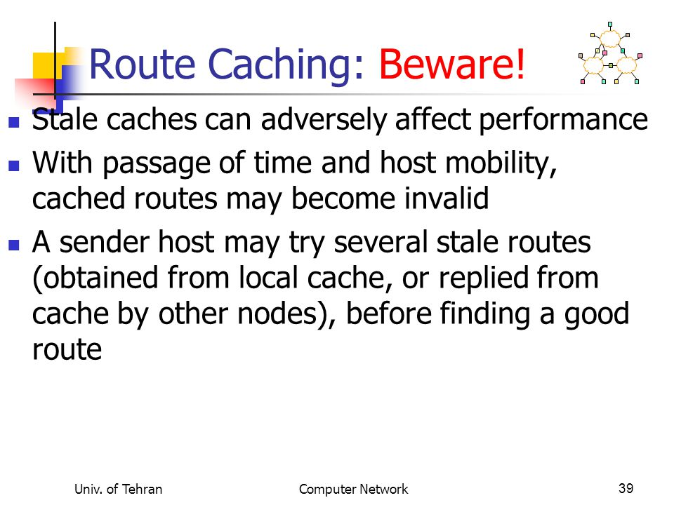 Univ. of TehranComputer Network39 Route Caching: Beware! Stale caches can adversely affect performance With passage of time and host mobility, cached