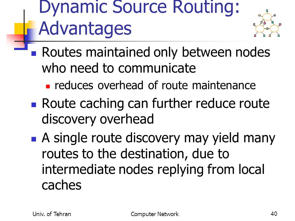 Univ. of TehranComputer Network40 Dynamic Source Routing: Advantages Routes maintained only between nodes who need to communicate reduces overhead of