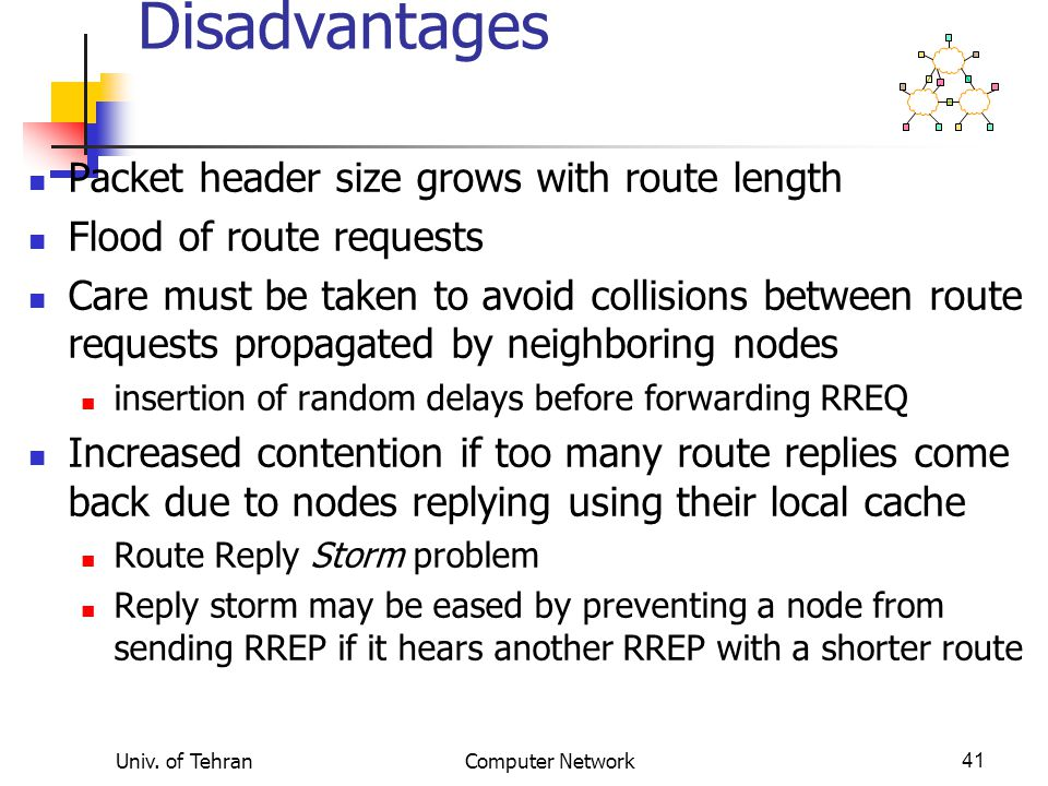 Univ. of TehranComputer Network41 Dynamic Source Routing: Disadvantages Packet header size grows with route length Flood of route requests Care must b