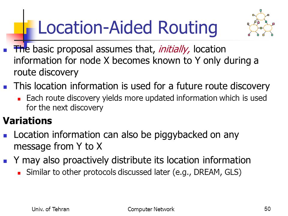 Univ. of TehranComputer Network50 Location-Aided Routing The basic proposal assumes that, initially, location information for node X becomes known to
