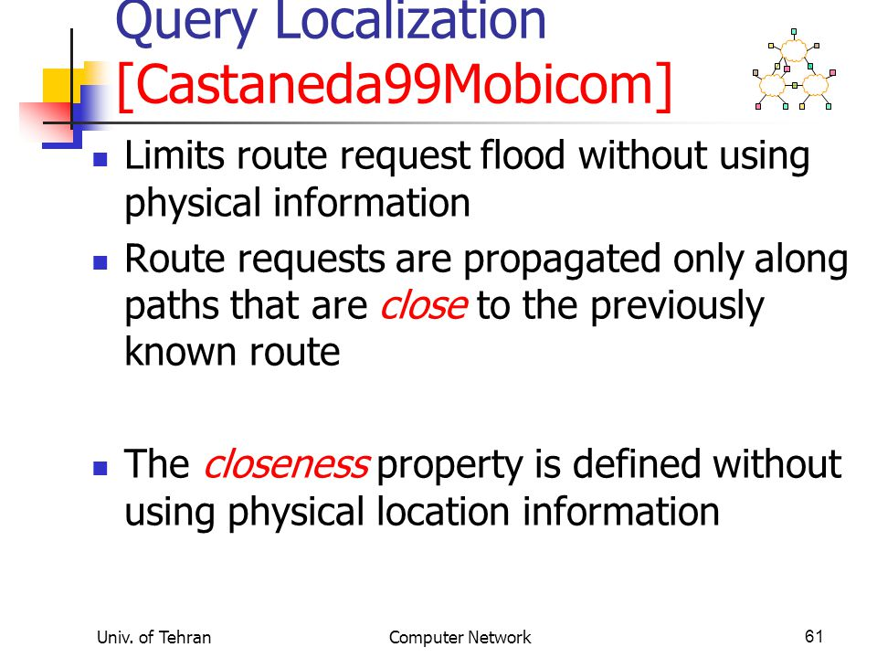 Univ. of TehranComputer Network61 Query Localization [Castaneda99Mobicom] Limits route request flood without using physical information Route requests