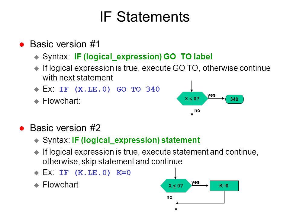 IF Statements l Basic version #1 u Syntax: IF (logical_expression) GO TO label u If logical expression is true, execute GO TO, otherwise continue with