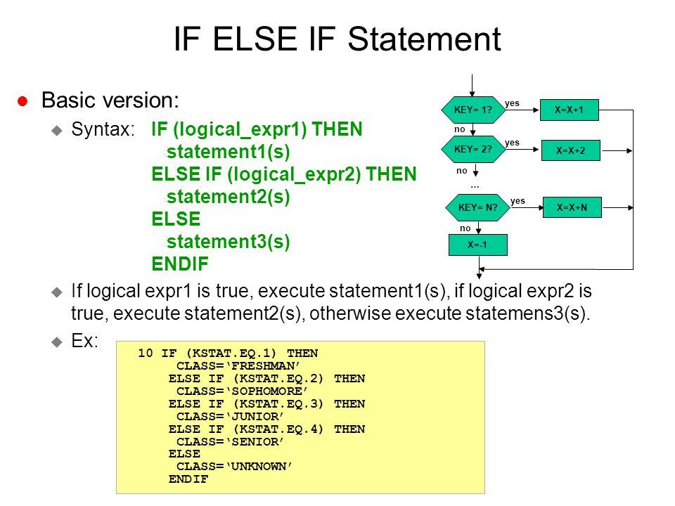 IF ELSE IF Statement l Basic version: u Syntax:IF (logical_expr1) THEN statement1(s) ELSE IF (logical_expr2) THEN statement2(s) ELSE statement3(s) END