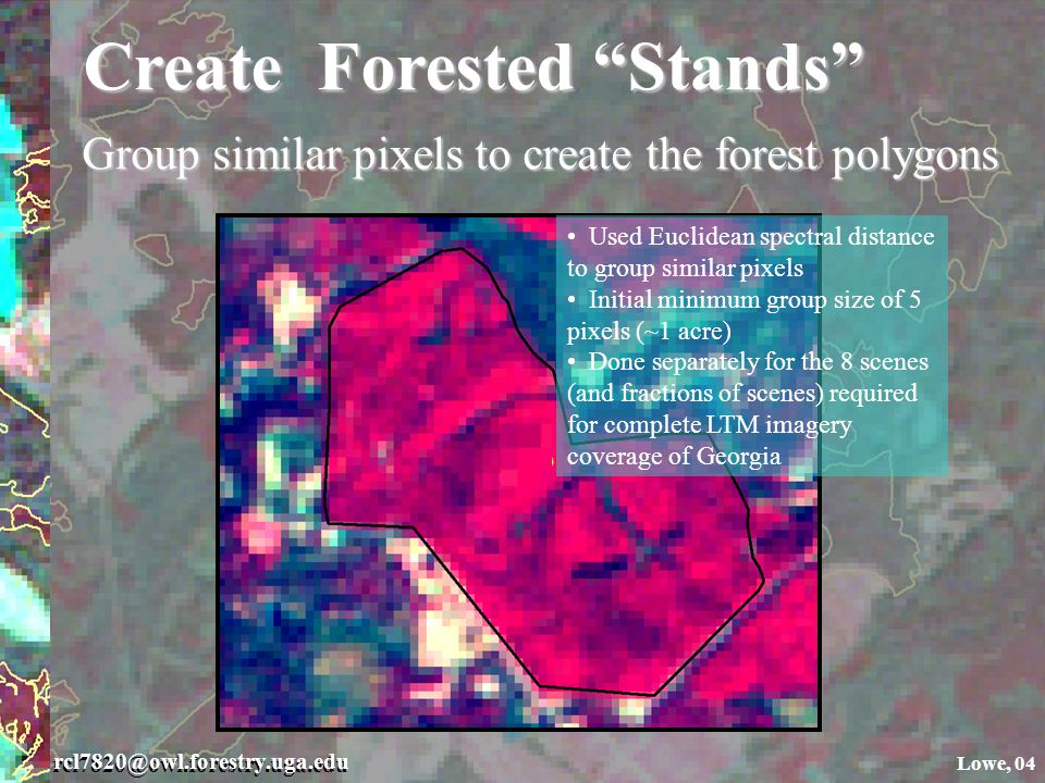 rcl7820@owl.forestry.uga.edu Lowe, 04 Create Forested Stands Group similar pixels to create the forest polygons Used Euclidean spectral distance to group similar pixels Initial minimum group size of 5 pixels (~1 acre) Done separately for the 8 scenes (and fractions of scenes) required for complete LTM imagery coverage of Georgia