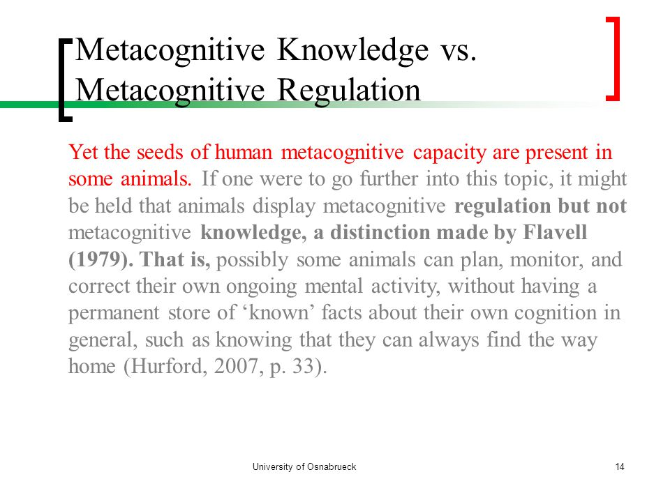 Metacognitive Knowledge vs.