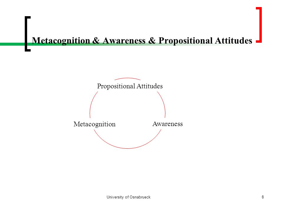 Metacognition & Awareness & Propositional Attitudes University of Osnabrueck8 Awareness Propositional Attitudes Metacognition