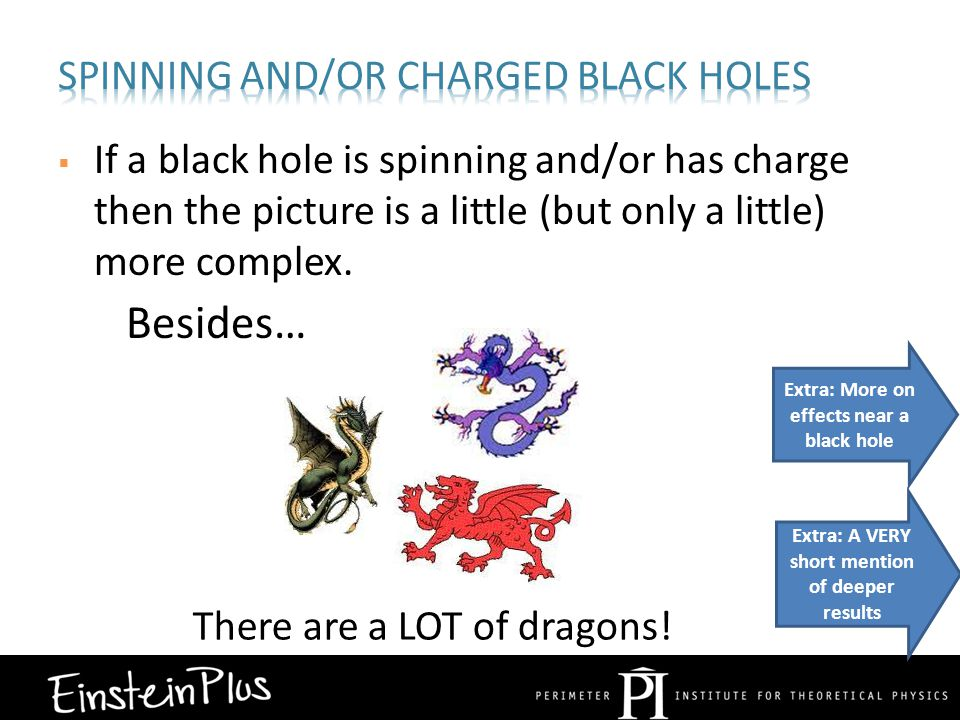 If a black hole is spinning and/or has charge then the picture is a little (but only a little) more complex.
