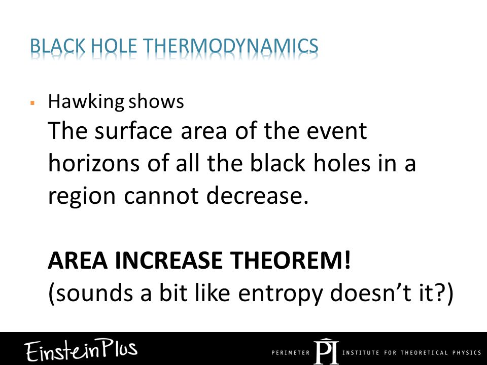  Hawking shows The surface area of the event horizons of all the black holes in a region cannot decrease.