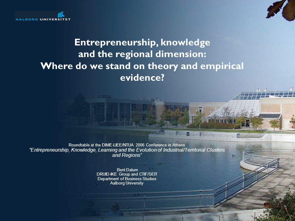 Entrepreneurship, knowledge and the regional dimension: Where do we stand on theory and empirical evidence.