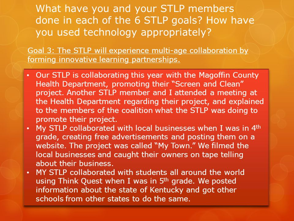 What have you and your STLP members done in each of the 6 STLP goals.