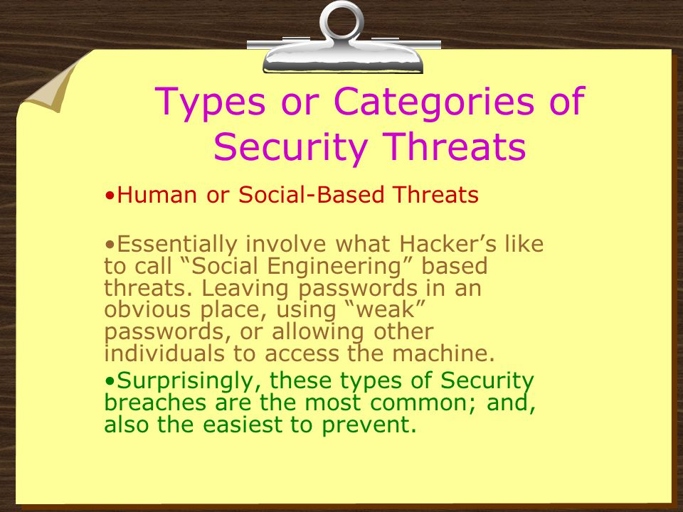 Types or Categories of Security Threats Human or Social-Based Threats Physical or Hardware-Based Threats Programming or Software- Based Threats