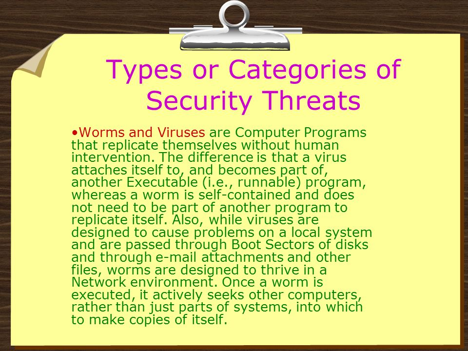 Types or Categories of Security Threats Spyware and Adware – Spyware or Adware is software that in installed in a computer for the purpose of covertly