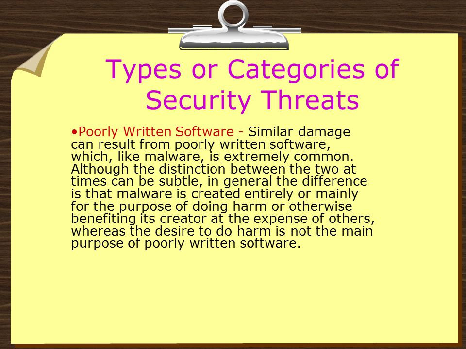 Types or Categories of Security Threats Spam - Spam is unwanted e-mail which is sent out in large volume.