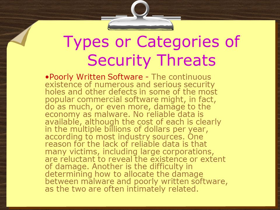 Types or Categories of Security Threats Poorly Written Software - Similar damage can result from poorly written software, which, like malware, is extr