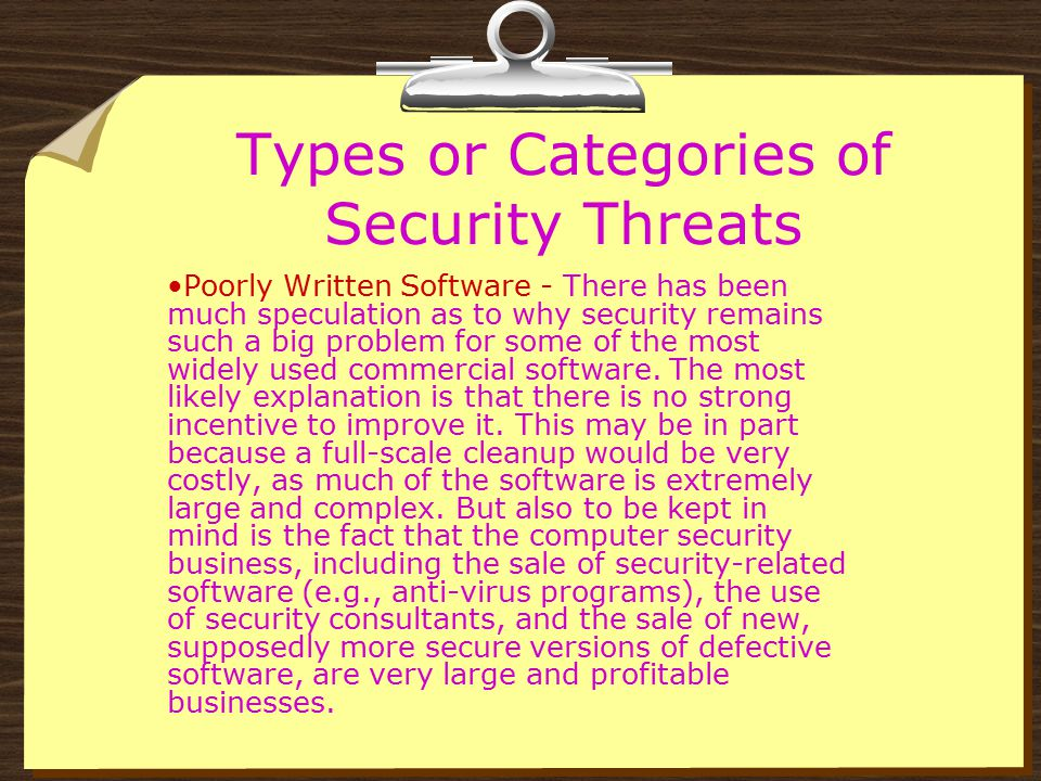 Types or Categories of Security Threats Poorly Written Software - The continuous existence of numerous and serious security holes and other defects in some of the most popular commercial software might, in fact, do as much, or even more, damage to the economy as malware.