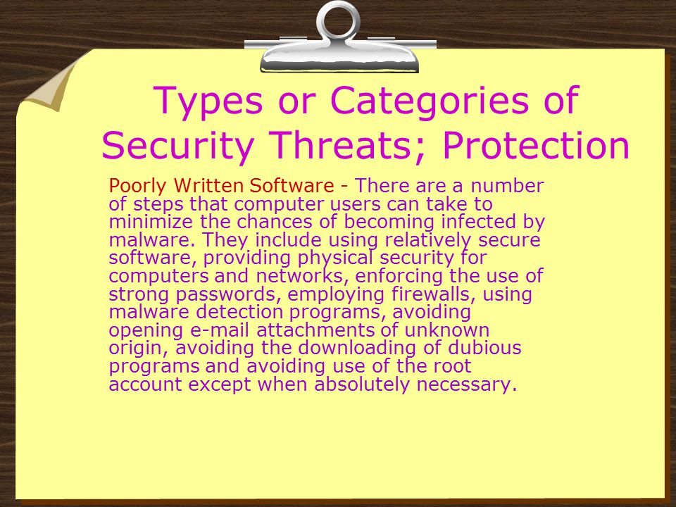 Types or Categories of Security Threats; Protection Poorly Written Software - Among the various ways in which this is accomplished is through the use