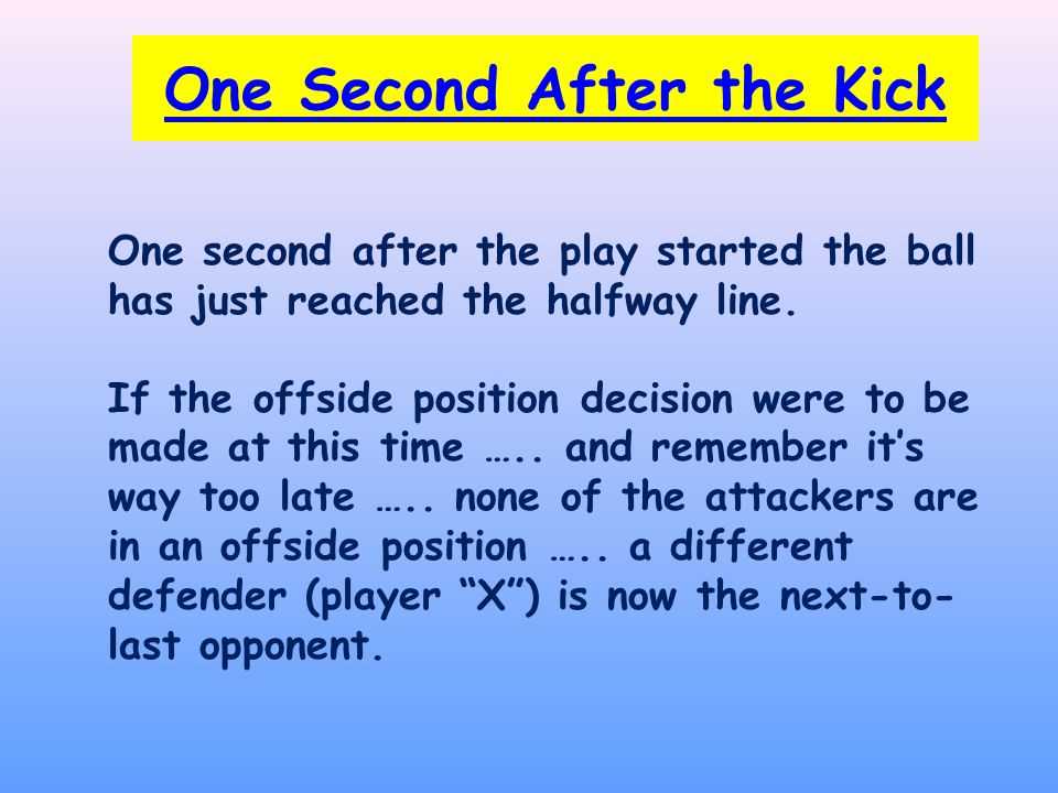 One Second After the Kick One second after the play started the ball has just reached the halfway line.