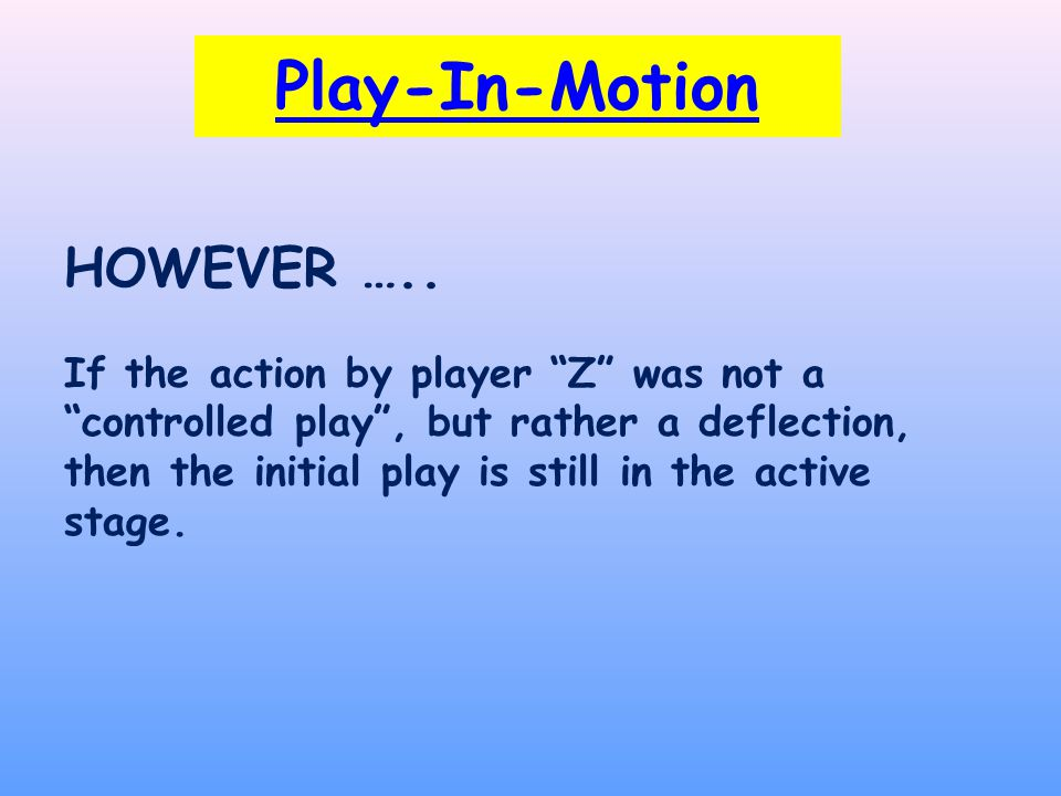 Play-In-Motion HOWEVER …..
