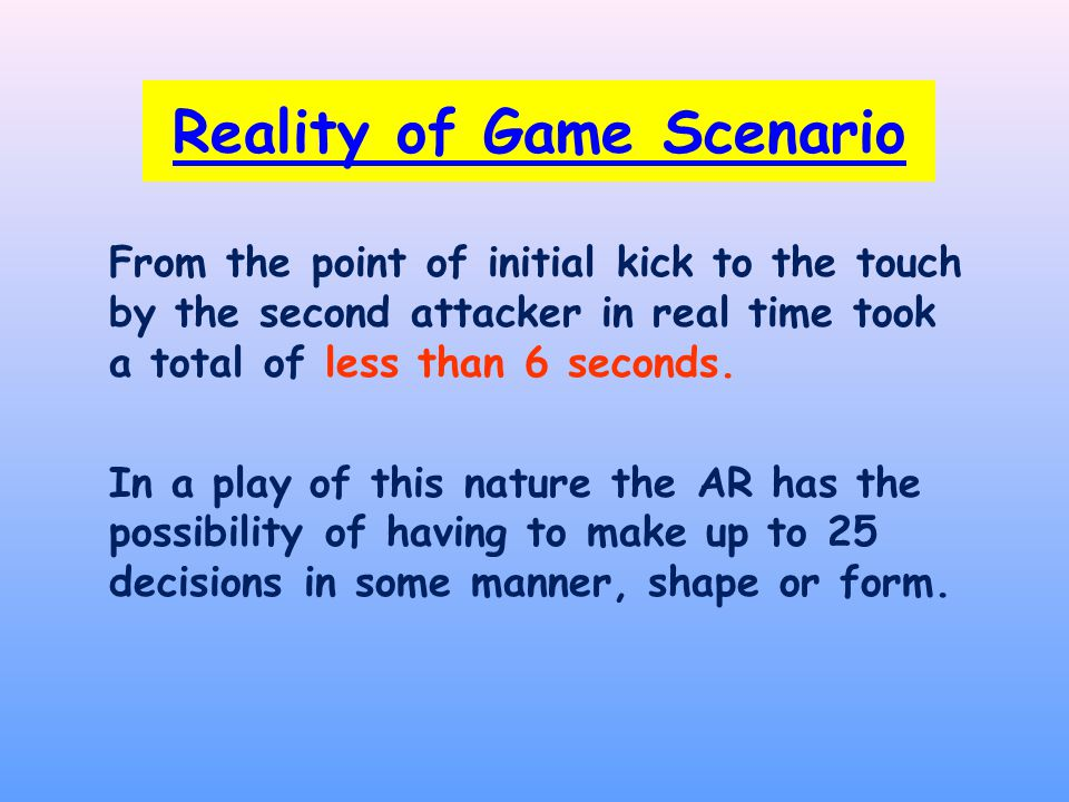 Reality of Game Scenario From the point of initial kick to the touch by the second attacker in real time took a total of less than 6 seconds.