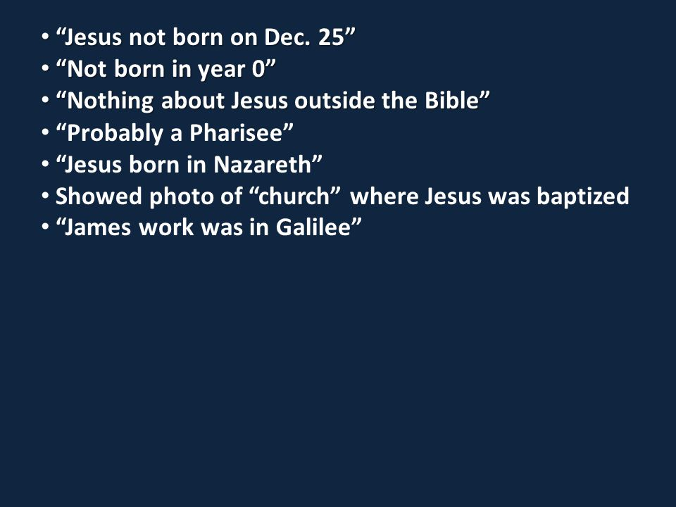 Jesus not born on Dec. 25 Jesus not born on Dec.