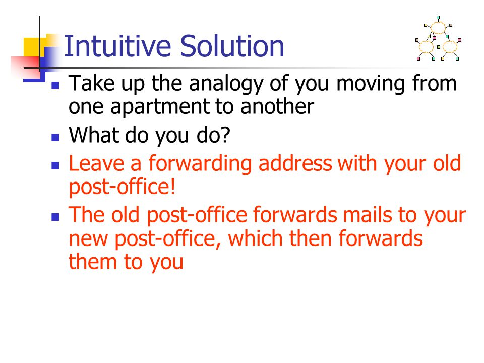 Intuitive Solution Take up the analogy of you moving from one apartment to another What do you do.